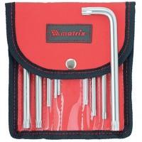 Набор ключей имбусовых TORX-TORX Tamper: 9 шт, T10-T50, CrV, коротких, с сатиновым покрытием, чехол. MATRIX