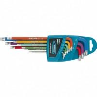 Набор ключей имбусовых HEX, 1,5-10 мм, S2, 9 шт, магнит, экстра-длинные с шаром, хром/краска. GROSS