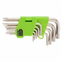 Набор ключей имбусовых Tamper-Torx, 9 шт: ТT10-ТT50,45x, закаленные, короткие, никель. СИБРТЕХ