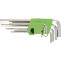 Набор ключей имбусовых HEX, 1,5-10 мм, 45x, закаленные, 9 шт, удлиненные, никель. СИБРТЕХ