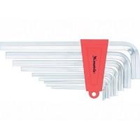 Набор ключей имбусовых HEX, 2-12 мм, CrV, 9 шт, короткие с сатинированным покрытием. MATRIX
