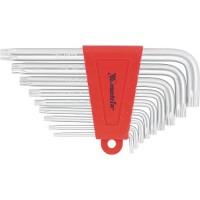 Набор ключей имбусовых TORX, 9 шт, T10-T50, CrV, коротких, с сатинированным покрытием. MATRIX