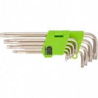 Набор ключей имбусовых Tamper-Torx, 9 шт: ТТ10-ТТ50,45x, закаленные, удлиненные, никель. СИБРТЕХ