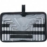 Набор ключей имбусовых HEX-TORX, 18 шт: HEX 1,5-10 мм, T10-T50, CrV, коротких, с сатиновым покрытием. MATRIX
