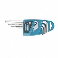 Набор ключей имбусовых HEX, 1,5-10 мм, S2, 9 шт, удлиненные с шаром, сатинированные. GROSS