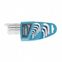 Набор ключей имбусовых TORX-TT, 9 шт: T10-T50, удлиненные, S2, сатинированные. GROSS