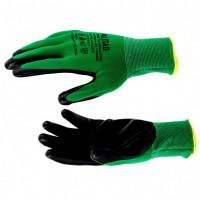 Перчатки полиэфирные с черным нитрильным покрытием маслобензостойкие, L, 15 класс вязки. PALISAD