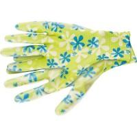 Перчатки садовые из полиэстера с нитрильным обливом, зеленые, L. PALISAD