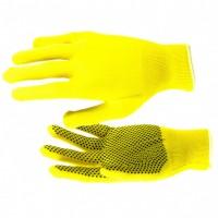 Перчатки нейлон, ПВХ точка, 13 класс, цвет лимон, L. Россия