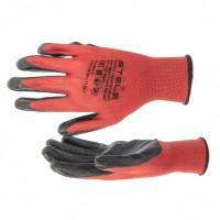 Перчатки полиэфирные с черным нитрильным покрытием маслобензостойкие, L, 15 класс вязки. STELS