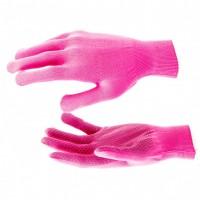Перчатки нейлон, ПВХ точка, 13 класс, цвет розовая фуксия, L. Россия