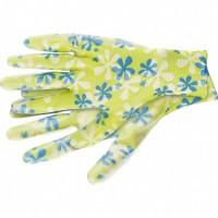 Перчатки садовые из полиэстера с нитрильным обливом, зеленые, S. PALISAD