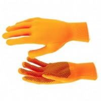 Перчатки нейлон, ПВХ точка, 13 класс, оранжевые, XL. Россия