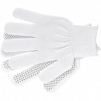 Перчатки нейлон, ПВХ точка, 13 класс, белые, L. Россия