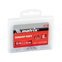 Набор бит PH1 х 50 мм, сталь 45Х, 10 шт, пластиковый бокс. MATRIX