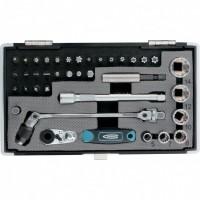 Набор бит и головок торцевых, 1/4, карданный ключ, трещотка, адаптер, S2 37 шт, GROSS