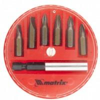 Набор бит, магнитный адаптер для бит, сталь 45Х, 7 предметов, в пластиковом закрытом боксе. MATRIX