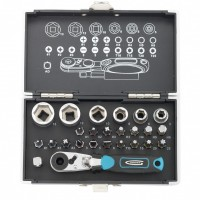 Набор бит и головок торцевых, 1/4, магнитный адаптер, сталь S2 пластиковый кейс, 26 предметов. GROSS