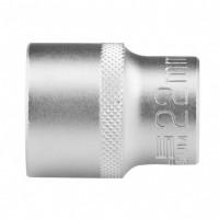 Головка торцевая 22 мм, двенадцатигранная, CrV, под квадрат 1/2, хромированная. STELS