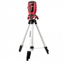"""Уровень лазерный ML01T, дальность 10 м, точность ± 0,5 мм. / 1 м, длина волны 650 нм, проекция 1 вертикальная 1 горизонтальная плоскость, резьба под штатив 5/8"""", штатив в комплекте. MATRIX"""