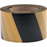 Лента сигнальная, 50 мм х 200 м, черно-желтая, Россия. СИБРТЕХ