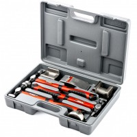Набор рихтовочный, 3 молотка с фибергласовыми ручками, 4 наковальни, пластиковый бокс. MATRIX