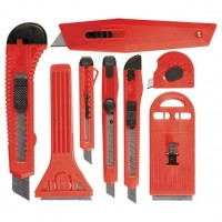 Набор ножей, выдвижные лезвия, 9 мм, 4, 18 мм, 2, +скребки выдвижн. фиксир.лезв, 40-52 мм, 2 шт. MATRIX