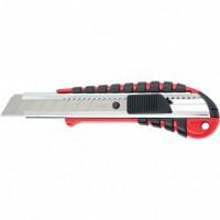 Нож, 18 мм выдвижное лезвие металлическая направляющая, эргономичная двухкомпонентная рукоятка. MATRIX