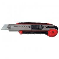Нож, 18 мм, выдвижное лезвие, металлическая направляющая, обрезиненная ручка, 5 лезвий. MATRIX MASTER