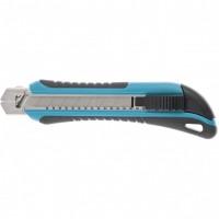 Нож 170 мм, обрезиненный ABS-корпус, выдвижное сегментное лезвие 18 мм (SK-5), металлическая направляющая, 5 лезвий. GROSS