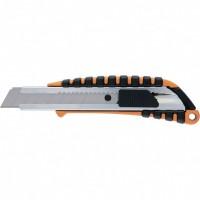 Нож, 18 мм выдвижное лезвие металлическая направляющая, металлический двухкомпонентный корпус. SPARTA