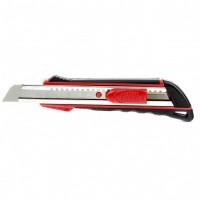 Нож, 18 мм выдвижное лезвие, метал. направляющая, эргоном. двухкомпонентная рукоятка MTRIX