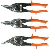 Ножницы по металлу, 250 мм, обрезиненные рукоятки, 3 шт, прямые, левые, правые. SPARTA