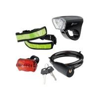 Набор велосипедный : передний и задний фонари LeD, светоотражатель и тросовый замок. STERN