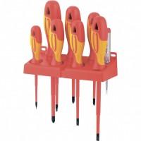 Набор отверток диэлектрических до 1000 В, 8 шт, тестер, CrMo, двухкомпонентные рукоятки. GROSS