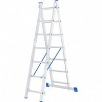 Лестница, 2 х 7 ступеней, алюминиевая, двухсекционная, Россия, Сибртех