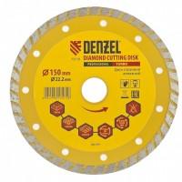 Диск алмазный, отрезной Turbo, 150 х 22,2 мм, сухая резка. DENZEL