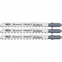 Полотна для электролобзика по дереву, 3 шт, T101B, 75 х 2,5 мм, HCS. MATRIX Professional