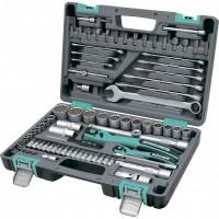 Набор инструментов, 1/2, 1/4, CrV, пластиковый кейс,  82 предмета, двенадцатигранные головки. STELS