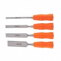 Набор стамесок 4 шт, 6-12-18-24 мм, плоские, пластиковые ударные рукоятки. SPARTA