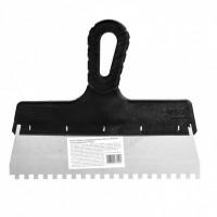 Шпатель из нержавеющей стали, 250 мм, зуб 6 х 6 мм, пластмассовая ручка Россия