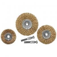 Набор щеток для дрели, 3 шт, 3 плоские, 50-63-75 мм, со шпильками, металлические. MATRIX