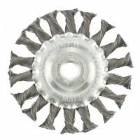 Щетка для УШМ 100 мм, М14, плоская, крученая проволока 0,35 мм. MATRIX