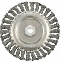Щетка для УШМ 150 мм, М14, плоская, крученая проволока 0,8 мм. MATRIX