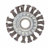 Щетка для УШМ, 100 мм, посадка 22,2 мм, плоская, крученая проволока 0,5 мм Сибртех
