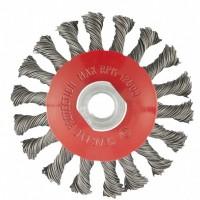 """Щетка для УШМ, 100 мм, М14, """"тарелка"""", крученая проволока 0,5 мм. MATRIX"""