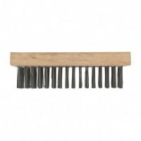 Щетка зачистная шестирядная, закаленная прямая проволока, плоская, деревянная. СИБРТЕХ