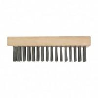 Щетка зачистная пятирядная, закаленная прямая проволока, плоская, деревянная. СИБРТЕХ